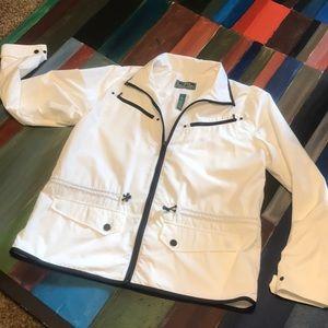 LRL Lauren Active White Trim Black Zip jacket